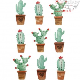 3D Stickers, H: 45 mm, W: 15-26 mm, cactuses, 9pcs, thickness 7 mm