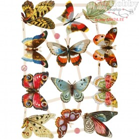 Vintage Die-Cuts, sheet 16,5x23,5 cm, butterflies, 3sheets