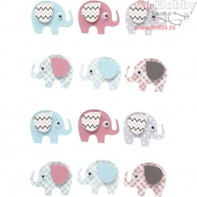 3D Stickers, H: 25 mm, W: 31 mm, elephants, 12pcs, thickness 7 mm
