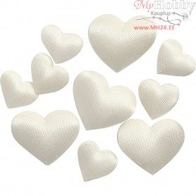 Satin Hearts, size 10+20 mm, thickness 1-2 mm, off-white, 700mixed