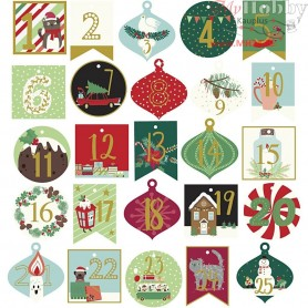 Gift Tags, size 40-54 mm,  120 g, advent numbers, 25pcs