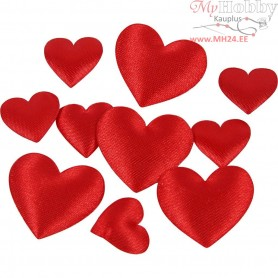 Satin Hearts, red, size 10+20 mm, thickness 1-2 mm, 70mixed