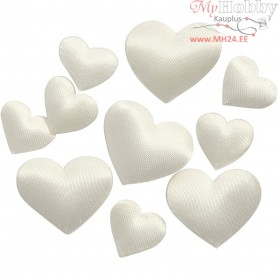 Satin Hearts, off-white, size 10+20 mm, thickness 1-2 mm, 70mixed