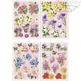 3D Decoupage Motifs, sheet 21x30 cm, flowers and butterflies, 4sheets