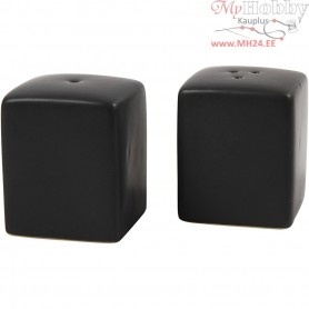 Salt and Pepper Set, H: 6 cm, size 5x5 cm, black, 6sets