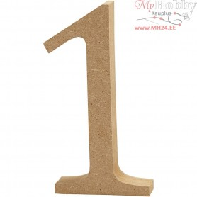 Number, 1, H: 13 cm, thickness 2 cm, MDF, 1pc