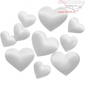 Satin Hearts, white, size 10+20 mm, thickness 1-2 mm, 70mixed