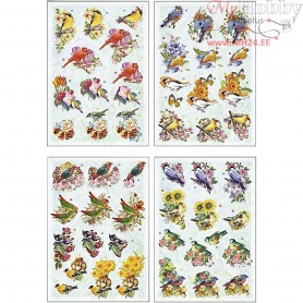3D Decoupage Motifs, sheet 21x30 cm, birds, 4sheets