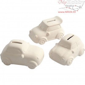 Car Money Box, H: 5,5 cm, L: 12,5 cm, white, 12pcs, W: 7,8 cm
