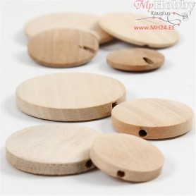 Wooden buttons, D: 20-35 mm, thickness 4 mm, 960pcs