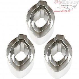 Cookie Cutters, largest size 30x40 mm, Ornament, 6x3pcs