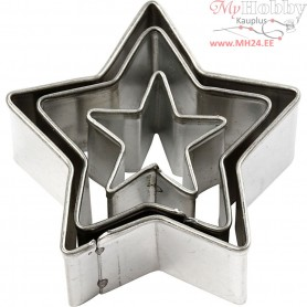 Cookie Cutters, largest size 40x40 mm, Star, 3pcs