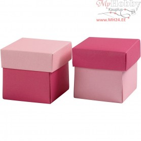 Folding box, size 5,5x5,5 cm,  250 g, rose/pink, 10pcs