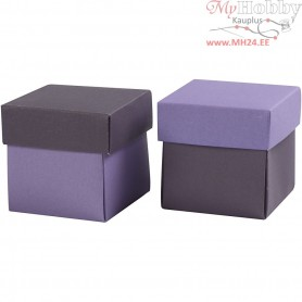 Folding box, size 5,5x5,5 cm,  250 g, dark lilac/lilac, 10pcs