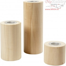 Candle Holders, H: 14,5+9+6,5 cm, hole size 2,3 cm, poplar wood, 3pcs