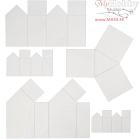 Casting Mould, H: 6-14,5 cm, thickness 0,5 mm, transparent, houses and triangles, 5pcs
