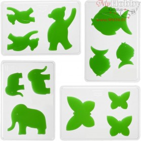 Casting Mould, size 6+8+10 cm, outer size 14,9x22 cm, animals, 4mixed, depth 9 mm