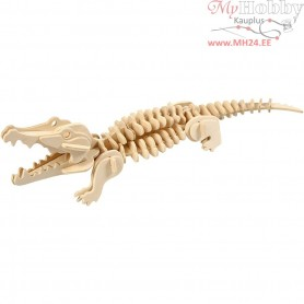 3D Wooden Construction Kit, crocodile, size 33x10x10 cm, plywood, 1pc