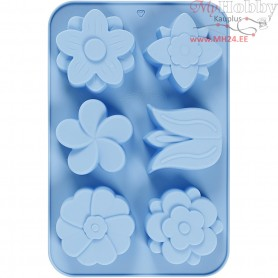 Silicone Mould, hole size 60x75 mm,  75 ml, light blue, flowers, 1pc