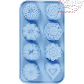 Silicone Mould, hole size 40x45 mm,  25 ml, light blue, small cakes, 1pc