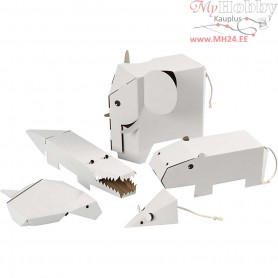 Flat-pack animals, size 15-26 cm, thickness 1,5 mm, 5pcs