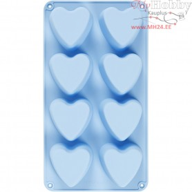 Silicone Mould, hole size 70x60 mm,  100 ml, light blue, hearts, 1pc