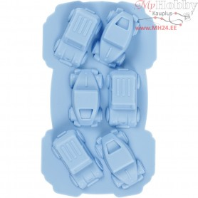 Silicone Mould, hole size 30x45 mm,  12,5 ml, light blue, cars, 1pc