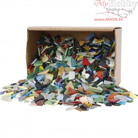 Mosaics, size 8-20 mm, thickness 2-3 mm, asstd colours, Asst'd Colours, 2kg