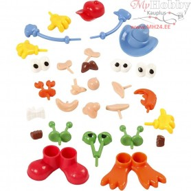 Body Parts, size 0,8-6,8 cm, asstd colours, 26mixed