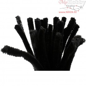 Pipe Cleaners, thickness 9 mm, L: 30 cm, black, 25pcs