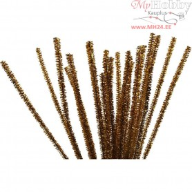 Pipe Cleaners, thickness 6 mm, L: 30 cm, gold, 24pcs