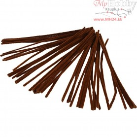 Pipe Cleaners, thickness 6 mm, L: 30 cm, brown, 50pcs