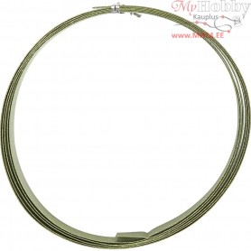 Aluminium Wire, W: 15 mm, thickness 0,5 mm, green, flat, 2m