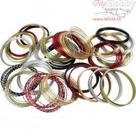 Aluminium Wire, , asstd colours, Round, flat and diamond-cut, 25rolls