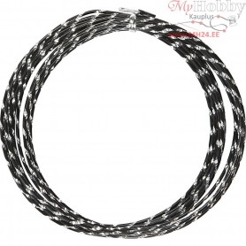Aluminium Wire, thickness 2 mm, black, diamond-cut, 7m