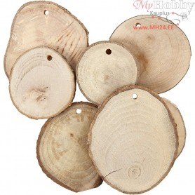 Wooden Discs, D: 4-7 cm, thickness 5 mm, 25pcs