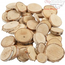 Wood Mix, D: 25-45 mm, thickness 7 mm, 600g, approx. 140 pc