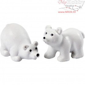 Small Animals, H: 30 mm, L: 45 mm, white, polar bears, 2pcs
