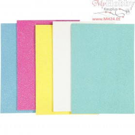 EVA Foam Sheets, A5 15x21 cm, thickness 2 mm, asstd. colours, iridescent, 5sheets