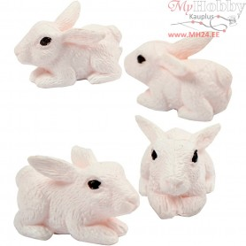 Small Animals, H: 10 mm, rabbits, 4pcs