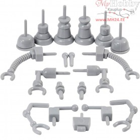 Robot parts, size 0,5-6 cm, grey, 19mixed