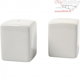 Salt and Pepper Set, H: 6 cm, size 5x5 cm, white, 6sets
