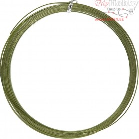 Aluminium Wire, W: 3,5 mm, thickness 0,5 mm, green, flat, 4,5m
