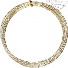 Aluminium Wire, thickness 2 mm, gold, diamond-cut, 7m