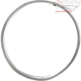 Aluminium Wire, W: 15 mm, thickness 0,5 mm, silver, flat, 2m