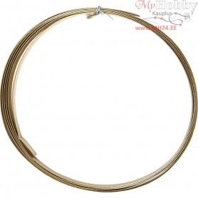 Aluminium Wire, W: 15 mm, thickness 0,5 mm, gold, flat, 2m