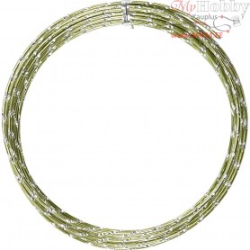 Aluminium Wire, thickness 2 mm, green, diamond-cut, 7m