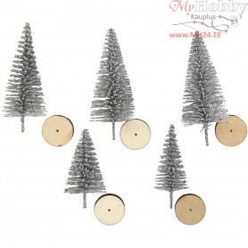 Christmas Spruce Trees, H: 40+60 mm, silver, 5pcs
