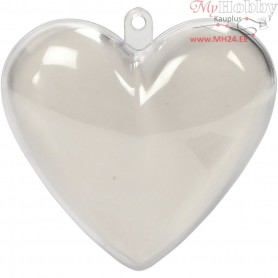 Heart-Shaped Baubles to Decorate, H: 6,5 cm, transparent, 10pcs