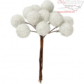 Artificial berries, D: 15 mm, white, 12pcs